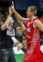 Russia Head Coach David Blatt with Sergey Monya
